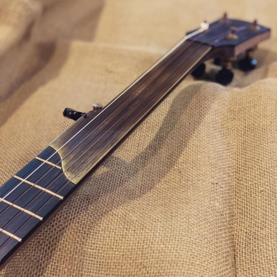 Half-fretless with brass overlay, frets one through seven