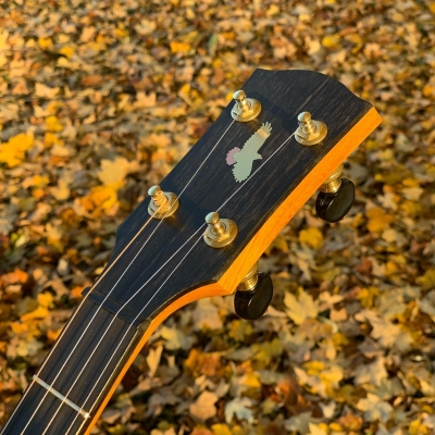 Brass & Copper red-tailed hawk inlay on ebony peghead and osage orange neck