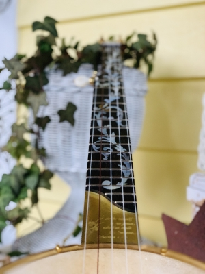 Ebony fingerboard shown with custom inlay.