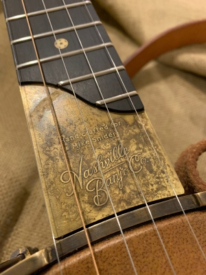 Antiqued Brass reverse-etched scoop plate personalized with name and logo on ebony fingerboard