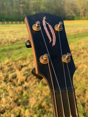 Custom brass & copper inlay on ebony peghead