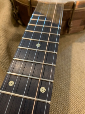 Mosaic brass fret markers inlayed on ebony fingerboard