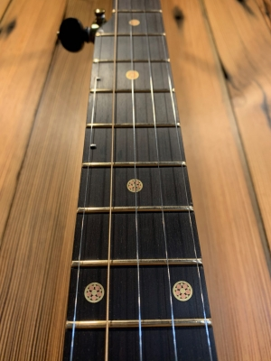 Mosaic Brass & Copper fret markers inlayed on ebony fingerboard